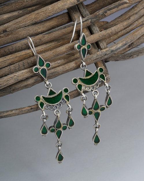 Green Glass Silver Drop Earrings