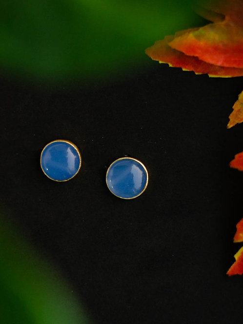 Berserk Gold Plated Blue Chalcedony Disc Studs