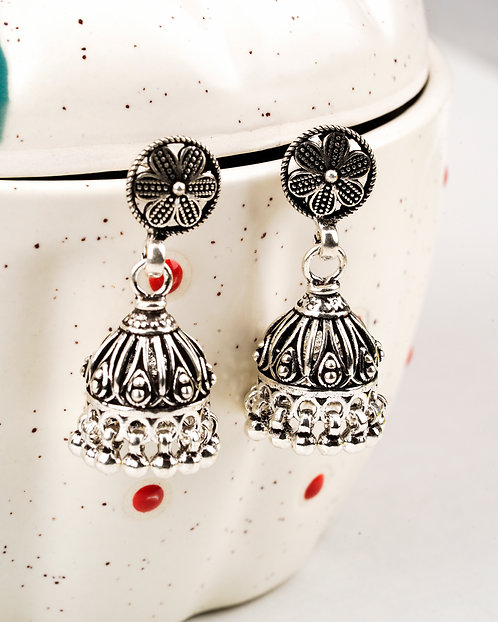 Silver Jhumki Ghungroo Ear Studs