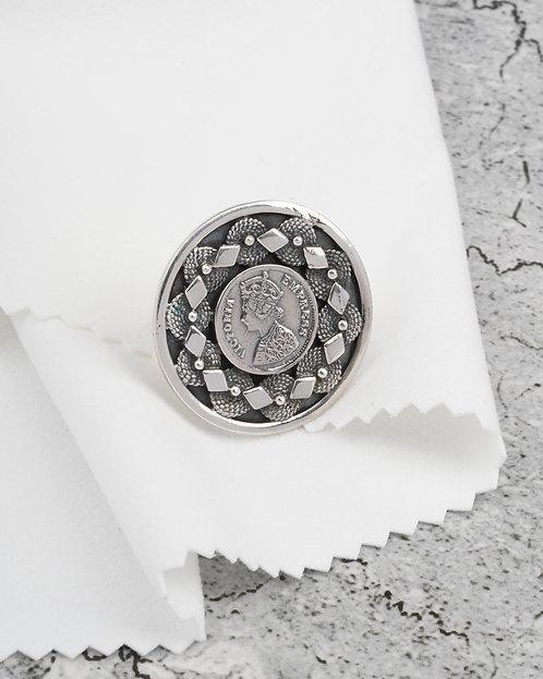 Silver Victoria Empress Coin Ring