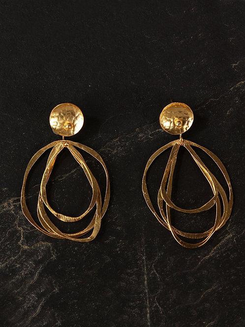 Berserk Gold Plated Asymmetric Circular Danglers