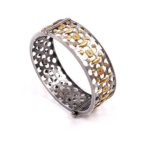 Silver Gold Plated, Floral Statement Rawa Bangle