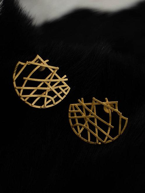 Berserk Gold Plated Abstract Halfmoon Earrings