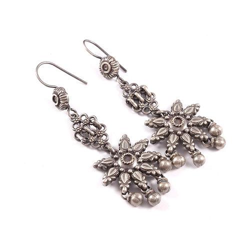 Silver Floral Design Drop Earrings