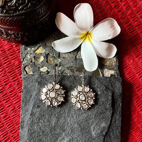 Gardenia Uncut Diamond Flower Danglers