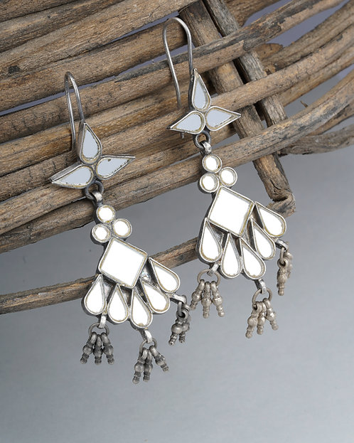 Silver White Glass Ghungroo Drop Earrings
