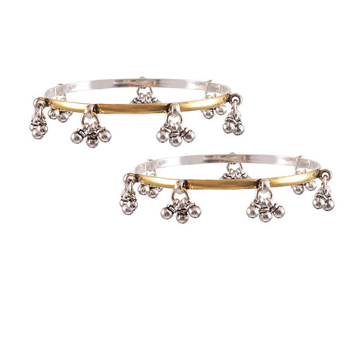 Silver Gold Plated, Ghungroos Classic Bangle