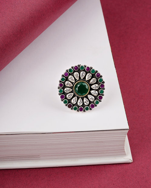 Adorable Silver Floral Multi-Gemstone Ring