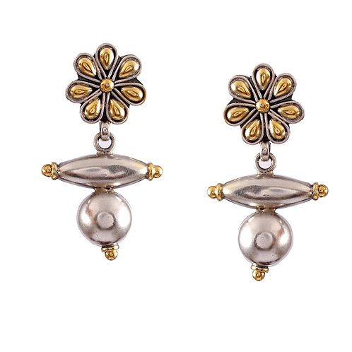 Silver Gold Plated, Floral With Beads Ear Studs