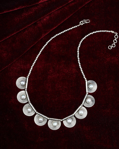 White Pearl Silver Necklace