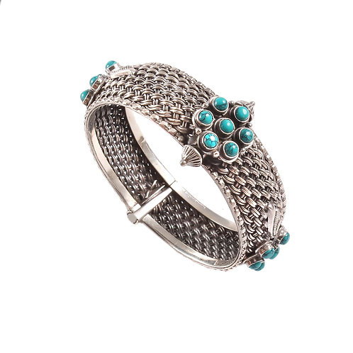 Silver Adorable Floral, Statement Bangle