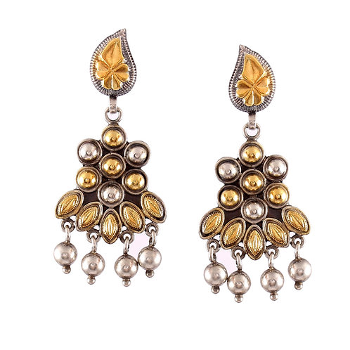 Silver Gold Plated, Tear-Drop & Floral, Ghungroo Ear Studs
