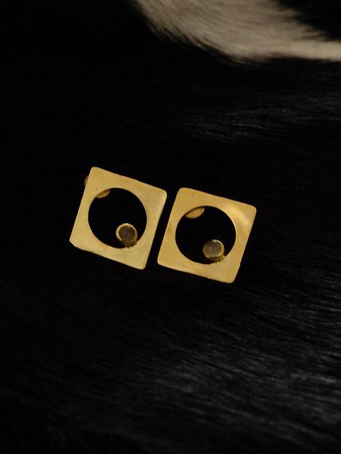 Berserk Gold Plated Diamond moonstone Stud