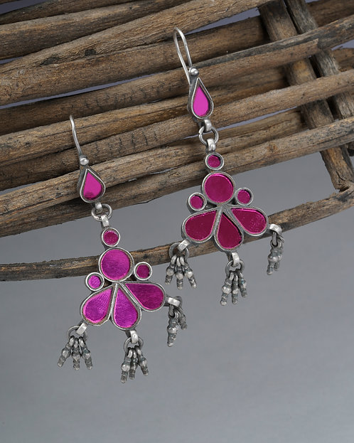 Silver Pink Glass Ghungroo Drop Earrings