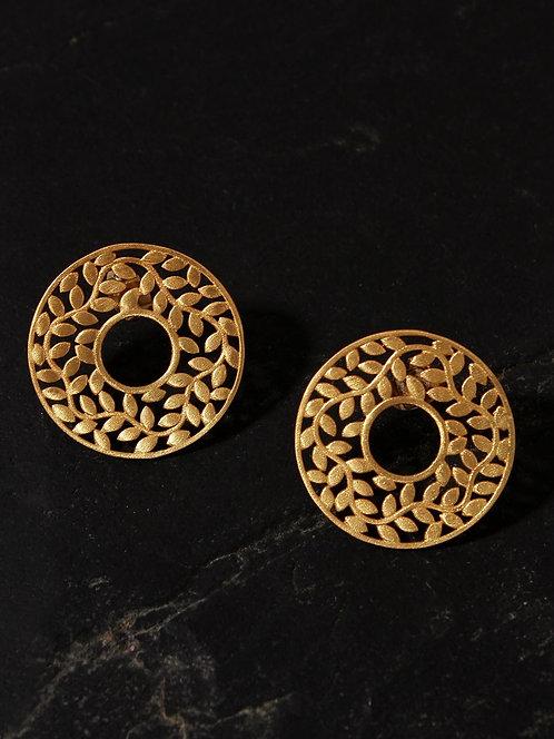 Berserk Gold Plated Carved Leaf Disc Earrings