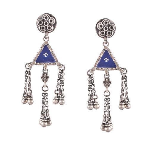 Silver Meenakaari Ghungroo Stud Earrings