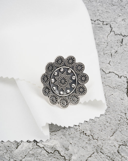 Oxidized Silver Statement Ring