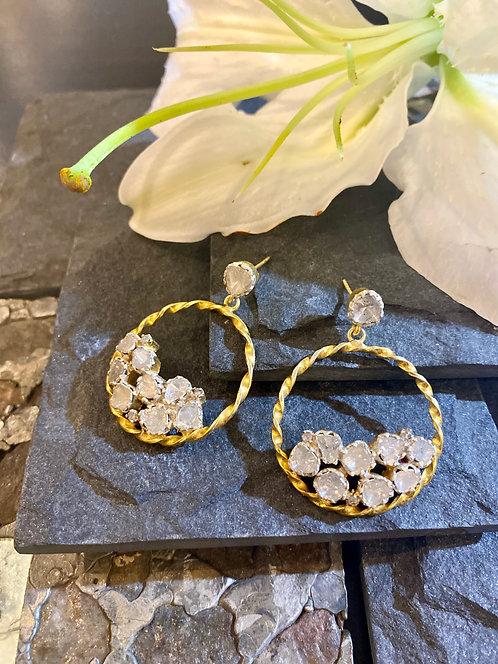 Swirl Uncut Diamond Hoops