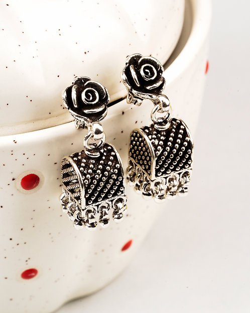 Unique Floral Silver Ghungroo Ear Studs