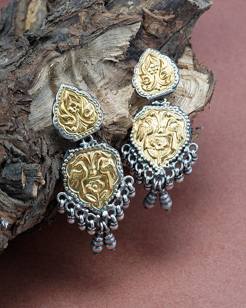 Gold Plated Silver Ghungroo Ear Studs