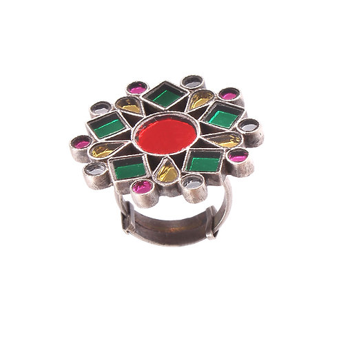 Silver Floral, Multi-Coloured Glass Ring
