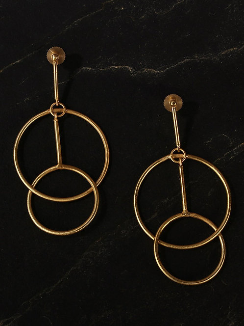Berserk Gold Plated Coincentric Circle Danglers