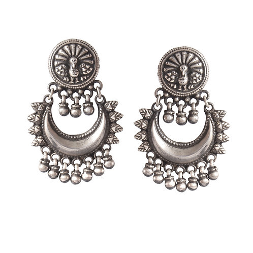 Silver Peacock With Ghungroos Ear Studs