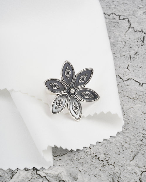 Floral Oxidized Silver Ring