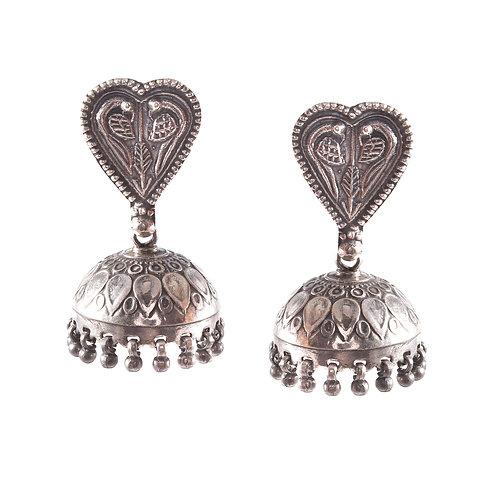 Silver Heart Design Stud Jhumkis