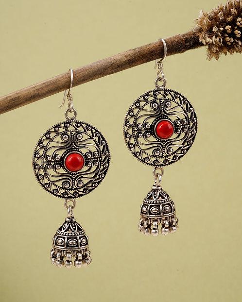 Oxidized Silver Ghungroo Jhumki Earrings