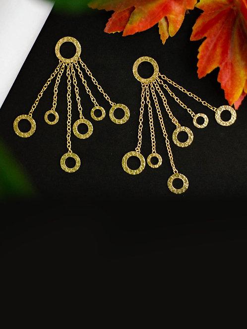 Berserk Gold Plated Ring Dangler Earrings