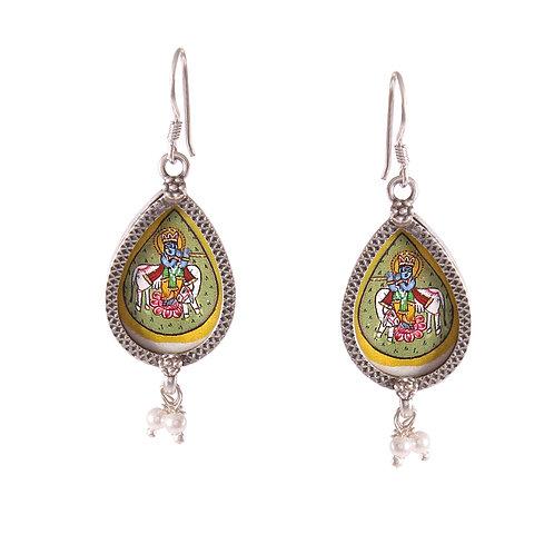 Silver Lord Krishna Drop Earrings