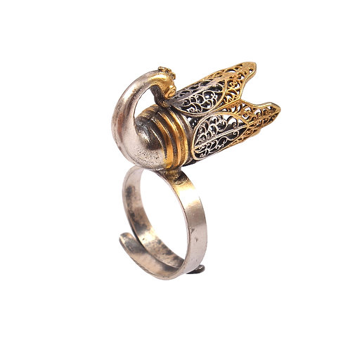 Silver Gold Plated, Designer Peacock Ring