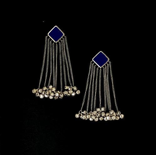 Square tasseled earrings - navy blue