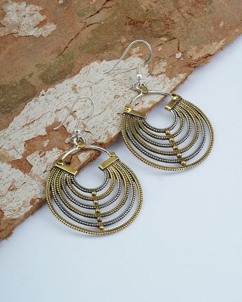 Silver In Gold Plated Rawa Drop Earrings