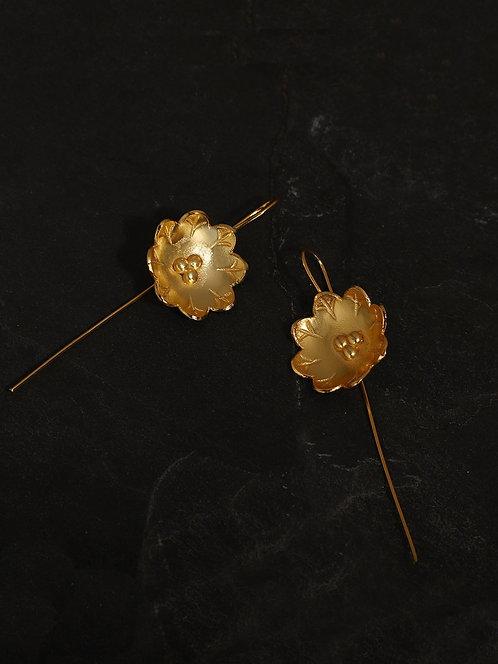 Berserk Gold Plated Magnolia Long Loops