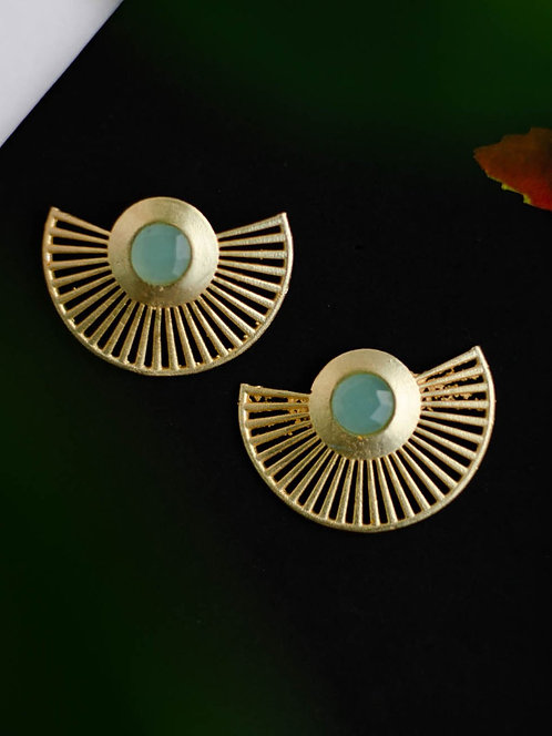 Berserk Gold Plated Aqua Chalcedony Fan Earrings