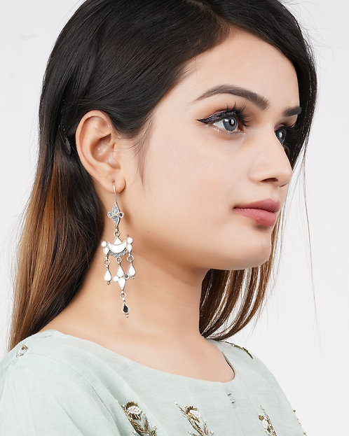 White Mirror Glass Silver Drop Earrings