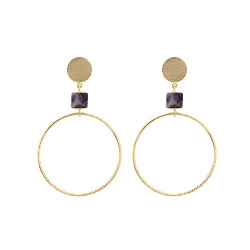 Geometric Earrings - Amethst