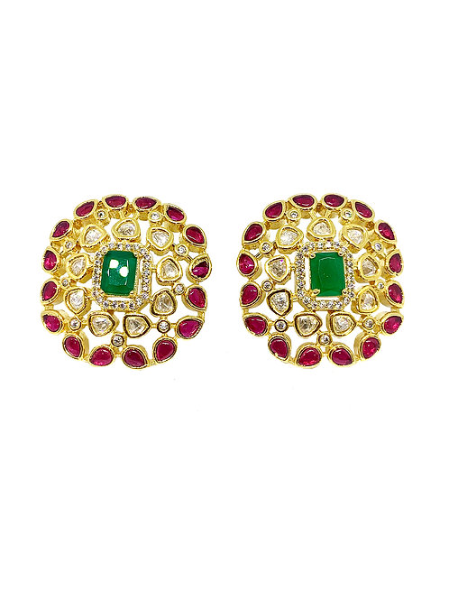Tri-coloured earrings