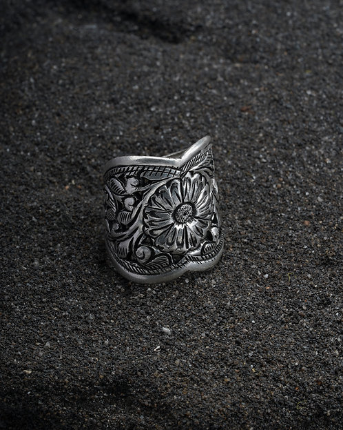 Oxidized Silver Chitai Work Ring