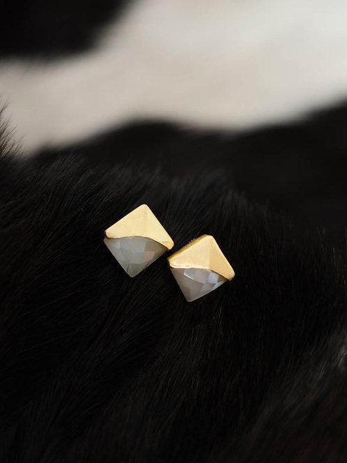 Berserk Gold Plated Moonstone Studs