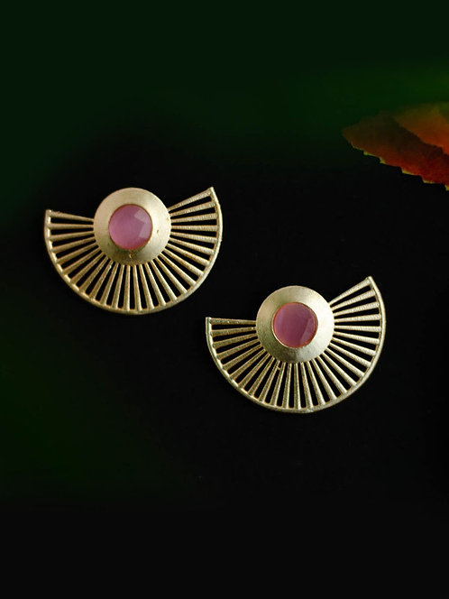 Berserk Gold Plated Rose Quartz Fan Earrings