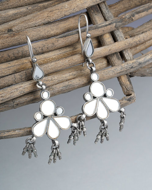 Mirror Glass Silver Ghungroo Drop Earrings
