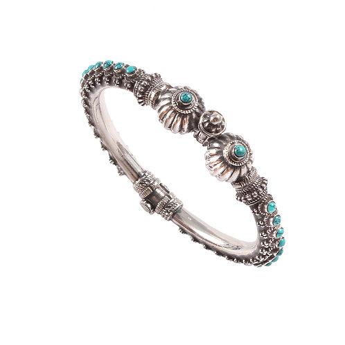 Silver Turquoise Onyx, Statement Rawa Bangle