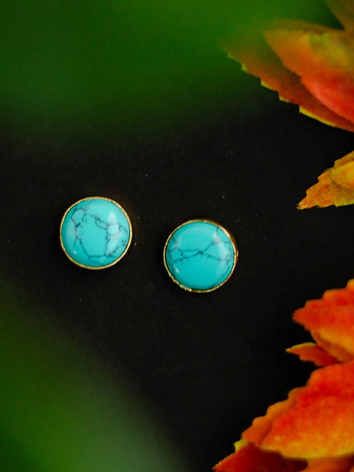 Berserk Gold Plated Turquoise Disc Studs