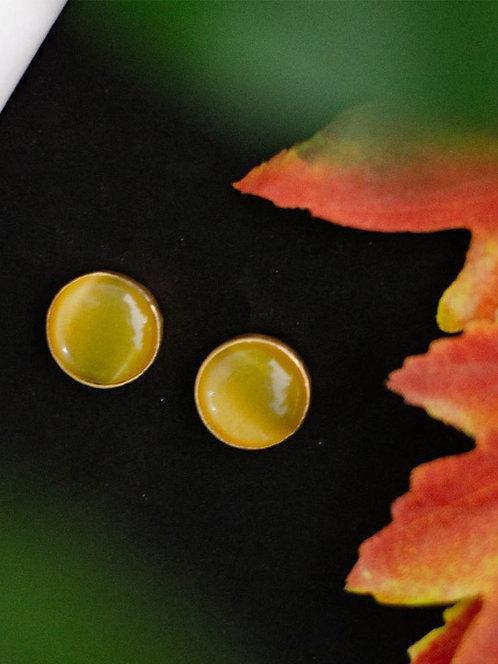 Berserk Gold Plated Yellow Onyx Disc Studs