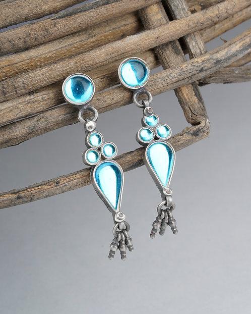 Silver Aqua Gemstone Ghungroo Ear Studs