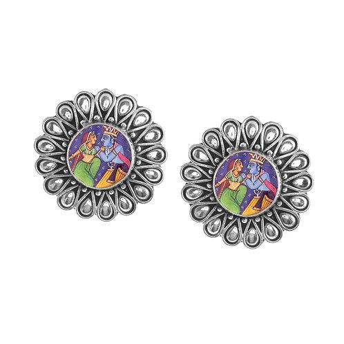 Silver Lord Radha-Krishna Ear Studs