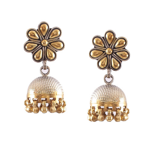 Silver Gold Plated, Adorable Floral, Stud Jhumki With Ghungroos